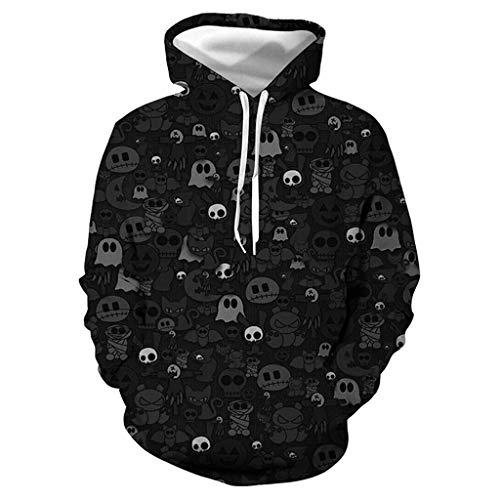 Xinantime Couples Halloween Hooded Sweatshirt Halloween Lover 3D Print Party Long Sleeve Hoodie Top Blouse Black