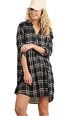 Umgee Women's Plaid Shirt Pocket Dress/Tunic with Roll Up Sleeves