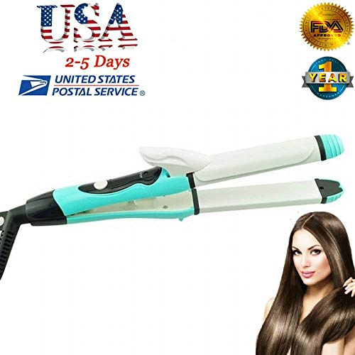 US Shipping -HONEWIN 2 in 1 Ceramic Tourmaline Ionic Flat Iron Curler Hair Straightener Hot Hair Curling Iron Wand Instant Heat DIY Hair Curler Waver Roller Maker Machine Ceramic Temperature Control