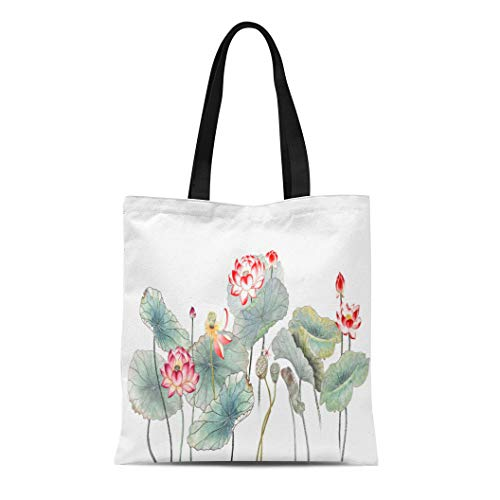Semtomn Canvas Tote Bag Shoulder Bags Black Painting Chinese Drawings Sketches Lotus Water Lily Red Women's Handle Shoulder Tote Shopper Handbag