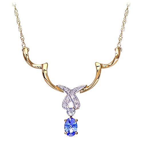 Revoni Bague en or jaune 9carats Diamant et tanzanite Pendentif Collier