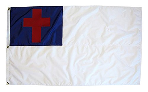 AES 5'x8' Christian Christ Religious Cross Jesus Flag 5x8 Foot Flag Banner Large Super Polyester Nylon Fade Resistant Double Stitched Premium Penant House Banner Grommets