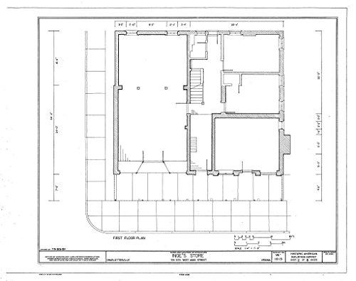 Historic Pictoric Blueprint Diagram HABS VA,2-Char,15- (Sheet 2 of 8) - Inge's Store, 331-333 Main Street, Charlottesville, Charlottesville, VA 14in x 11in (In Va Stores Charlottesville)