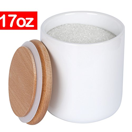 White Ceramic Canisters Jars Containers Set For Food Storage with Wood Lids,Kitchen Canister, Flour Sugar Container Salt canister Coffee Tea Jar,17 oz,1-Piece set