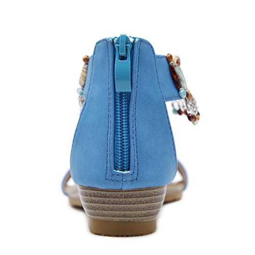 Wedge Summer Ankle Beauty Blue D2C Bohemian Women's Sandals qvypcg7