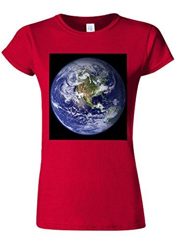 ベテラン上ジョガーEarth World from Moon Funny Novelty Cherry Red Women T Shirt Top-XL