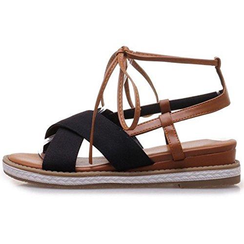 Black Classico Donne Melady Scarpe Flats Sandali nwPxqx8S17