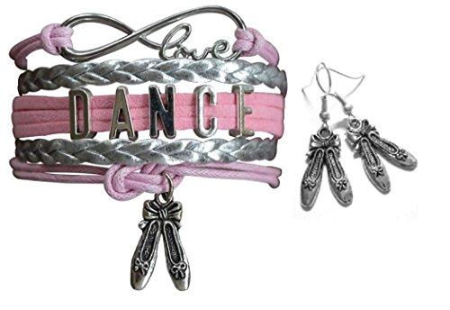 - Infinity Collection Pink Dance Jewelry Set-Dance Bracelet & Dance Dangle Earrings, for Dance Recitals, Dancers and Dance Teams