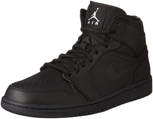 nike air jordan 1 mid mens trainers 554724 sneakers shoes (US 7, black white 034)