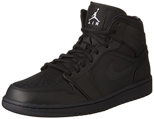 Nike Mens AIR JORDAN 1 MID, BLACK/WHITE, 15 554724-034