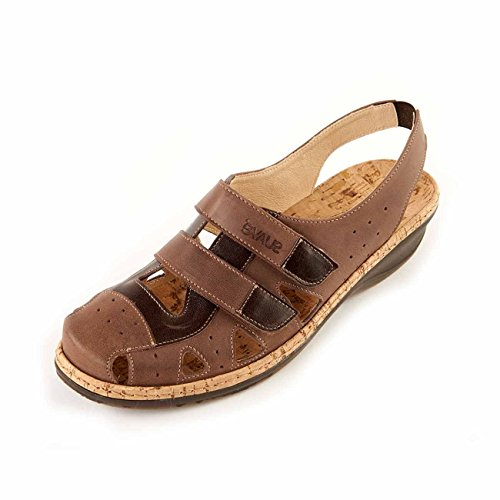 Cushioned Suave Super Slip 'Holly' Sole Women's Bark Mocca Soft Footbed Leather E Flexible Wide Fitting Non Sandal BxTFBC