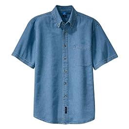 Port & Company Mens Short Sleeve Value Denim Shirt