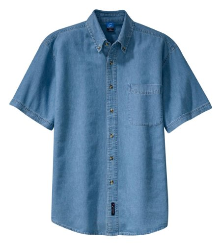 Port & Company Mens Short Sleeve Value Denim Shirt, Faded Blue, X-Large ()