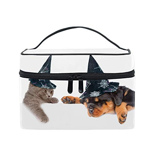 Makeup Train Case Rottweiler And Cat Halloween Carrying Portable Zip Travel Cosmetic Brush Bag Organizer Large for Girls Women