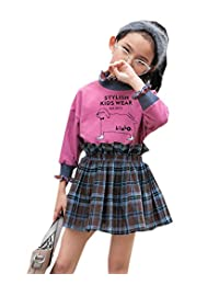 Buy-Box Girls Skirt Suit Big Girl Two Sets Plaid Pattern Sweater Skirt Uniform