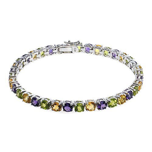 De Buman Genuine Citrine, Peridot, Amethyst and Natural Multi-colored Gemstones 925 Silver (Gemstone Multi Colored Bracelet)