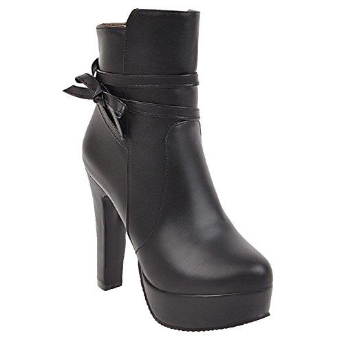 Boots Women's Zip Dress Bow Elegant Carolbar Black Platform qzWn7T7A