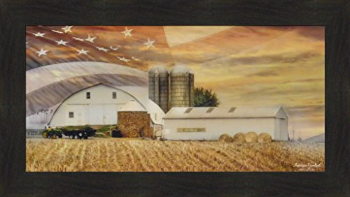 American Farmland by Lori Deiter 16x28 Farm Barn Corn Field Hay Bales John Deere Tractor Silo Flag Stars Stripes Sky Framed Art Print Picture ()