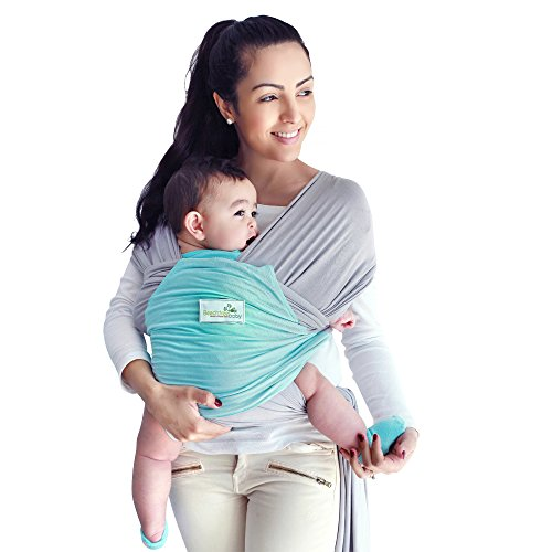 Beechtree Baby Modal Baby Wrap | Baby Carrier | 50% More BREATHABLE 2x Softer Than Cotton Carrier Wraps | Cool Light Stretchy Comfy Sling Wrap with Pocket | Unique Baby Gift | (Grey/Blue)