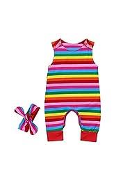 Vincent&July Baby Girls Sleeveless Rainbow Striped Romper+Headbands Set