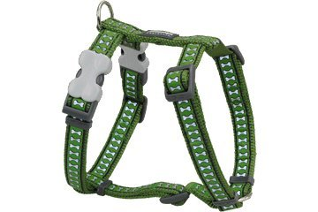 Red Dingo Reflective Dog Harness, Medium, Green