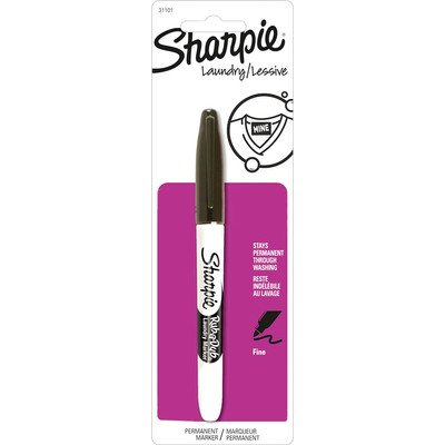 Sharpie Rub-a-Dub Permanent Marker, Fine Point, Black Ink, 1-Count