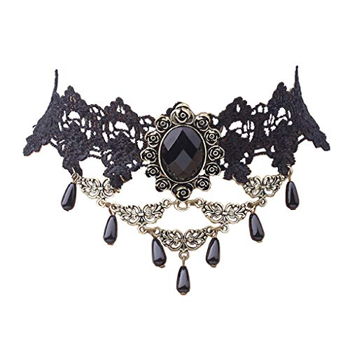 Countonme Retro Handmade Choker Necklace for Women Black Lace Gothic Halloween Costume Vampire Choker Princess Lolita Victorian Necklace Pendant Chain]()