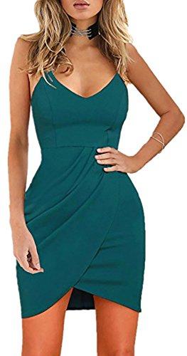 Rozegaga Womens Deep V Neck Spaghetti Straps Sleeveless Open Back Mini Club Bodycon Dress XLarge Light Blue (Date Night Light)