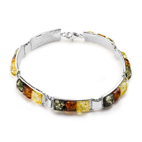 - Sterling Silver Multicolor Amber Colored Squares Bracelet 7.5 Inches