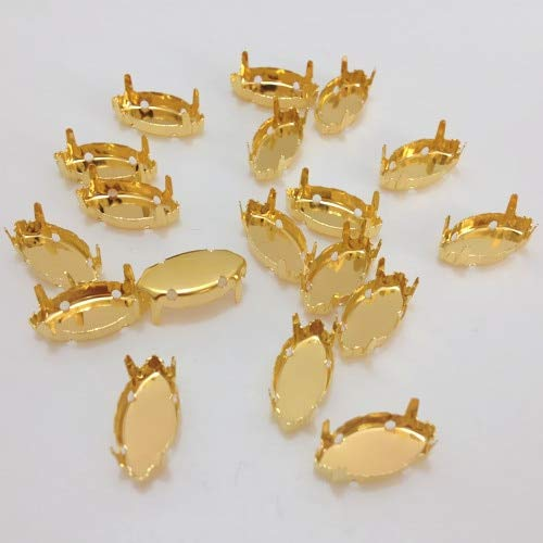 (Calvas Navette Marquise Raw Brass Claw Setting 4 Holes for Setting Horse Eye Crystal Jewelry Making 5x10m,7x15mm,9x18mm,13x27mm,17x32mm - (Item Diameter: 7x15mm 1000pcs))
