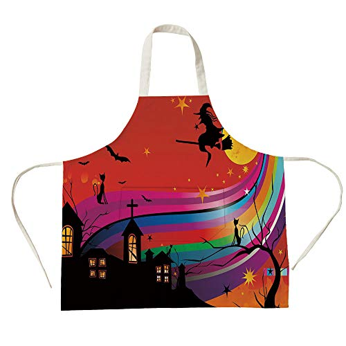 3D Printed Cotton Linen Big Pocket Apron,Halloween,Witch Woman on Broomstick Bats Cat Stars Rainbow Moon Castle Abstract Colorful Decorative,Multicolor,for Cooking Baking Gardening