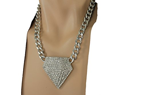 [TFJ Men Fashion Necklace Metal Chain Links Silver Bling Style Big Iced Out Diamonds Shape Pendant Hip] (Hot Halloween Costumes For Guys)