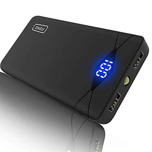 INIU 10000 mAh Portable Power Bank LED Display Ultra Compact 2 USB Ports Mobile Charger External Battery Backup Powerbank Compatible with iPhone X 8 7 6s 6 Plus Samsung HTC Cell Phone ()