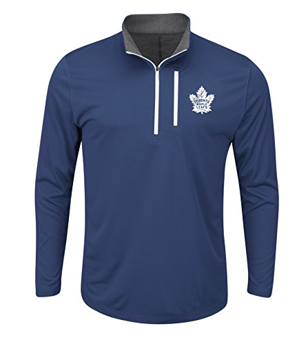 NHL Toronto Maple Leafs Good Work Long Sleeve 1/2 Zip Mock Neck Tee, Medium, Blue Cobalt Charcoal Charcoal - 1/2 Mock Neck Zip