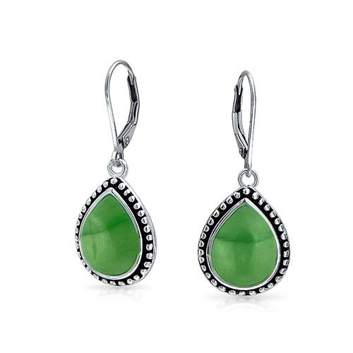 Bali Style Dyed Jade Framed Pear Shaped Teardrop Leverback Dangle Earrings For Women Oxidized Sterling ()