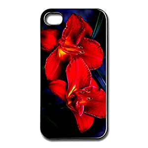 Red Lilies 4s Case For Apple IPhone White or Black Best TPU Style