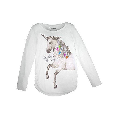 Shirred Leggings (Hanes Girl`s Graphic Shirred Sideseam Long Sleeve Tee, M, Unicorn Message/White)