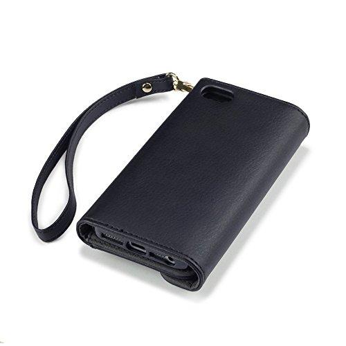 """Coque Cuir iPhone SE, Terrapin Étui Housse en Cuir Rivet Style """"Portefeuille"""" pour iPhone SE Cover - Noir"""