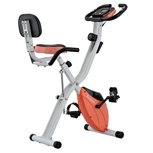 Harvil Foldable Magnetic Exercise Bike with 10-Level Adjustable Magnetic Resistance and Pulse Rate Sensors - Peach