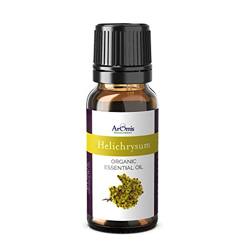 ArOmis Helichrysum Italicum Essential Oil - Certified Organic - 100% Pure Therapeutic Grade - 10ml, Undiluted, Natural, Premium, Massage Oil, Oils Perfect for Aromatherapy, Diffuser, Pain & More!