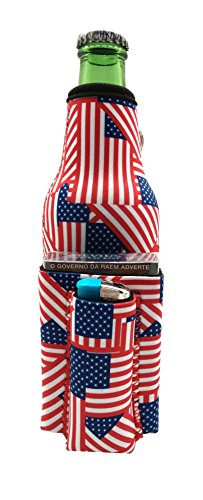 Chuggie Beer Bottle with Two Pockets - Holds Cigarette and Lighter, Phone, Keys, 3mm Neoprene (American Flag ()