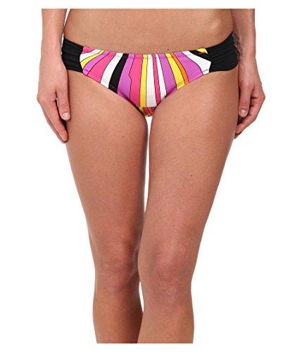 Trina Turk Women's Side Shirred Hipster Bikini Swimsuit Bottom, Black/Pink/Yellow/Sunburst, 2