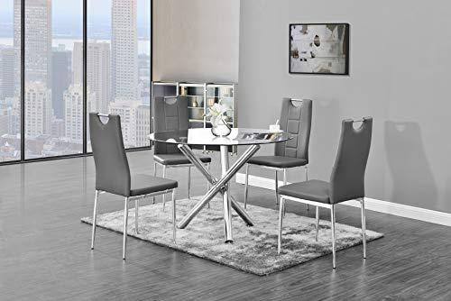 Dinette Round - Best Master Furniture T248 Crystal 5 Pcs Round Glass Top Dinette Set Grey