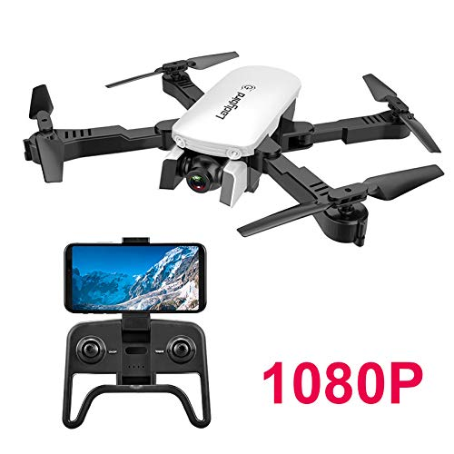 Adsvtech WiFi FPV RC Drone with Double 1080 HD Camera for Beginners Foldable Quadcopter, Automatic Beauty, Gesture Photography, Trajectory Flight White