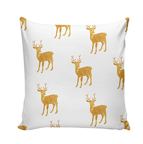 Baisheng Christmas Pattern Pillowcase Short Plush Sofa Bed Decorative Throw Pillow Square Cover Cushion Cover (elk B…