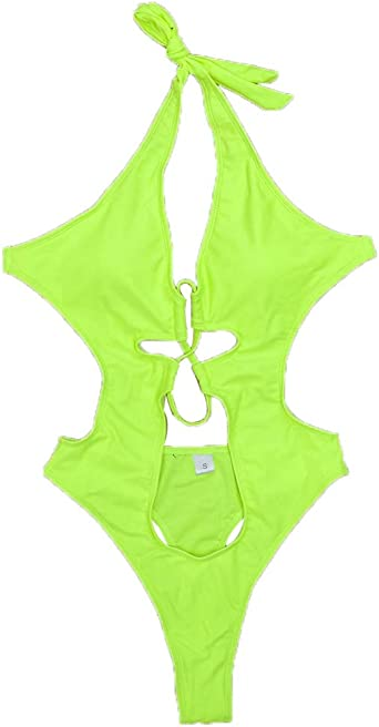 Femme Maillots de bain maillot de bain maillot de bain Monokini Bikini creux Beachwear Halter