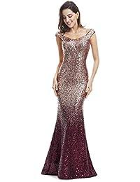 17bcbcd78c7 Women Sparkling Gradual Champagne Gold Sequin Mermaid Cap Sleeves Evening Dress  Prom Dress 08999