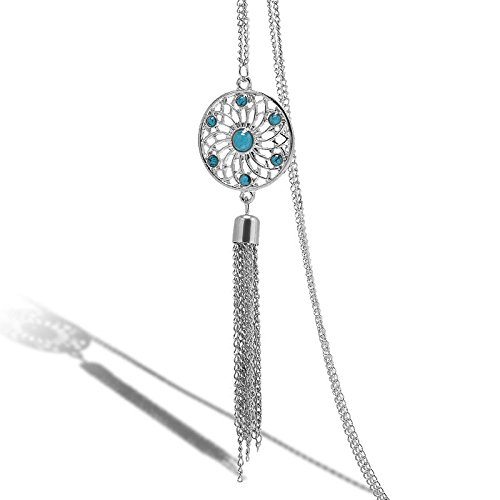 (WKShop Fashion Women Retro Turquoise Feather Charm Pendant Long Chain Necklace Jewelry Silver)