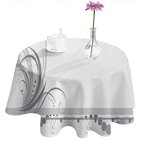 (Grey Easy Care Leakproof and Durable Tablecloth Ornament Border with Artistic Swirls Dots in Rococo Style Renaissance Details Outdoor Picnic D40 Inch Pale Grey White)