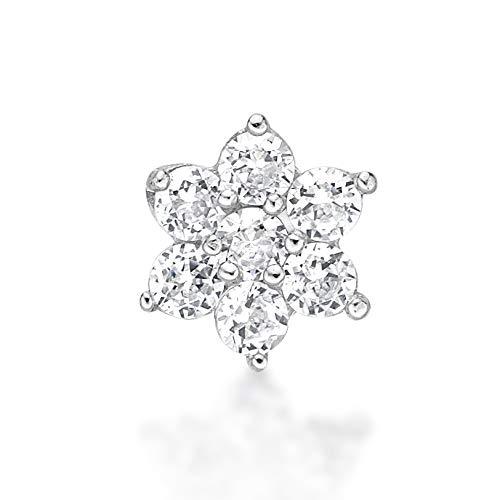 Lavari - 14K White Gold Flower White Cubic Zirconium Nose Ring Straight Stud 22G